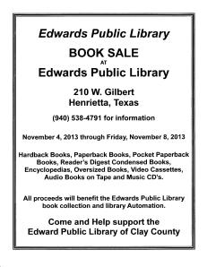 Edwards Public Library Sale
